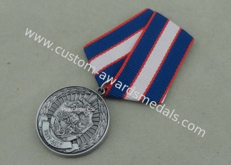China Antique Silver Government Short Ribbon Medals , Awards Medallions With Brass Material supplier