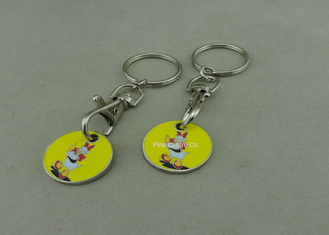 China Suppermarket Shopping Trolley Coin With Keyring / Customized Logo supplier