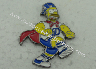 China Brass Die Stuck Softball Pins , Zinc Alloy Promotional LA Baseball Pin supplier
