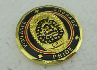 China Soft Enamel Brass Personalized Coins Die Struck Gold CRU OEM supplier