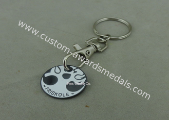 China Hard Enamel Promotional Iron Stamped Trolley Token Keyring Customized supplier
