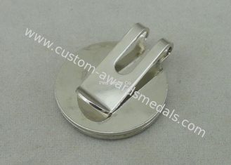 China Eco - friendly Golf Cap Clip With Rhinestone , Hard Iron Brooch Pin Emblem supplier