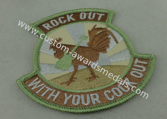 China Binding Edge Woven Custom Embroidery Patches / Rock Out Patch Badges supplier