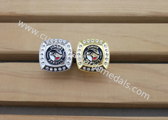 China Military Metal 3D Police Badge Emblem Ring With Rhinestones Gold Plating supplier