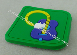 China Soft PVC Awards 2D PVC Coaster Fridge Magnet , Green Plastic 3D Keychain supplier