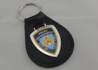 China 1.5 mm Personalized Leather Keychains , City NY Leather Key Chain With Nickel Plating supplier