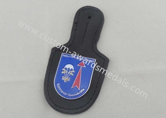 China Kommando Leather Pocket Badge And Personalized Leather Keychains With Nickel Plating supplier