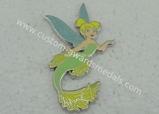 China Copper Stamped Imitation Hard Enamel Brooch Pins , Die Casting Emblem Pin With Glitter supplier