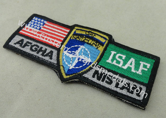 China ISAF Custom Embroidery Patches / Woven America Military Velcro Patches supplier