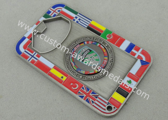 China NATO OTAN Metal Personalized Coins With Bottle Opene And Antique Silver Plating supplier