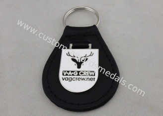 China VAG Crew Leather Key Chain / Personalized Leather Keychains with Emblem supplier