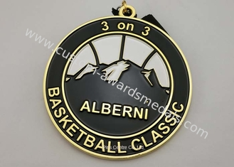 China Zinc Alloy Basket Ball Sports Enamel Medal Nickel Plating With 900 * 25 Mm Ribbon supplier