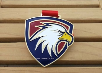 China Personalized Military Die Struck Iron Soft Enamel Medal , School Medallion Awards supplier
