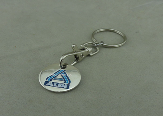 China Promotional Trolley Coin Keychain , Die Struck Customized Enamel Token supplier
