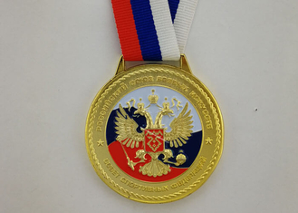 China 3D Zinc Alloy Custom Enamel Medal Gold Plating With Ribbon 900*25 mm supplier