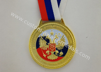 3D Zinc Alloy Custom Enamel Medal Gold Plating With Ribbon 900*25 mm