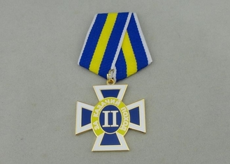 China Gold Plating Custom Awards Medals Die Stamp , Ribbons Military Award Medal supplier