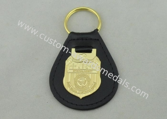 China 3D NCIS Personalized Leather Key Chain With Gold Plating Emblem supplier