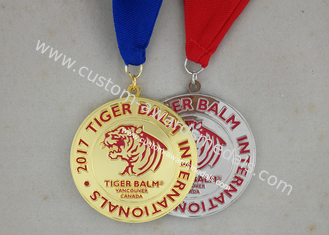 China Brass Stamped Hard Enamel Karate Medals , Customized Swimming Awards Taekwondo Medals supplier
