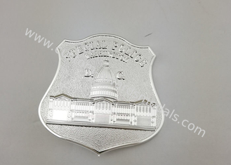 China Silver Plating Car Souvenir Badge , Die Stamped Sports Badge With Brooch Pin supplier