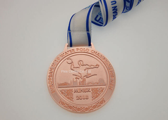 Soft Enamel Running Race Medals , Custom 5K Race Medals Neck Ribbon