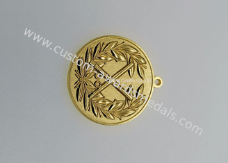 Gold Plating Iron Basketball Medals ,  Military Air Force Medals Brass Stamped Personalized