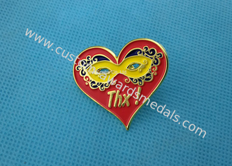 Personalised Die Casting Soft Enamel Pin , Gold Epoxy Pin Badge Heart Shaped