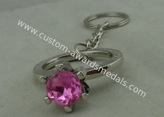 China Purple Rhinestone Promotional KeyChain With Chrome Plating ,  Full Relief Design Zinc Alloy supplier