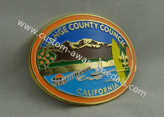 China California Orange County Council Custom Made Buckles With Gold Plating And Soft Enamel supplier