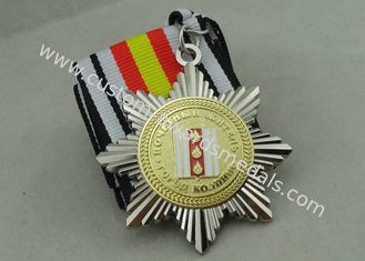China Two Tones Plating Ribbon Medals For Russia Military, 3D Zinc Alloy With Soft Enamel supplier