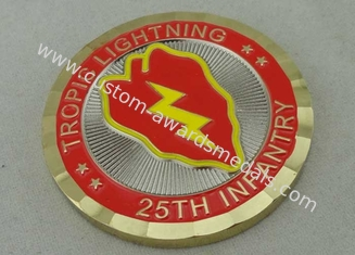 China 25th Infantry Tropic Lightning Personalized Coins , Double Tones Plating, Diamond Cut Edge supplier
