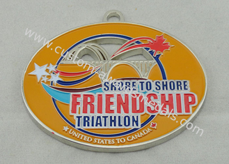 China Synthetic Friendship Medal Nickel Plating 2.5 Inch For USA Triathlon supplier
