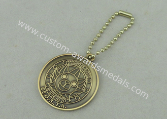 China 2.0 mm Promotional Keychain With Ball Chain   , Antique Gold Plating Die Casting supplier