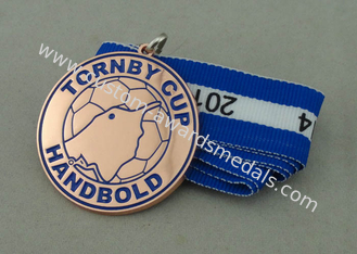 China Tornby Cup Handbold Demark Ribbon Medals Copper Plating With Iron Stamped Soft Enamel supplier