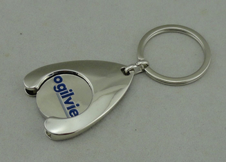 China Token Holder Promotional Keychain Zinc Alloy Die Casting Soft Enamel With Silver Plating supplier