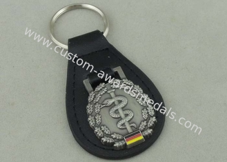 China Germany Personalized Leather Key Chains , Zinc Alloy Antique Silver Soft Enamel Keyring supplier