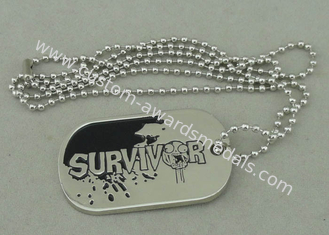 China Zinc Alloy Survivor Personalised Dog Tags Soft Enamel Long Ball Chain And Nickel Plating supplier