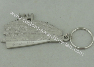 China 50.8 mm Zinc Alloy 3D Key Ring Silver Die Casting For Promotion supplier