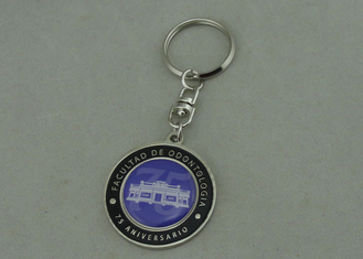 China Brass Stamped Promotional Keychain Offset Printing With Synthetic Enamel supplier