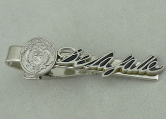 China 22 mm Special Cufflink Custom Tie Bars 3D Brass Stamped Silver supplier