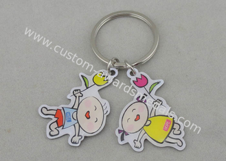 China Stainless Steel Promotional Keychain Offset Printing With Silver Plating supplier