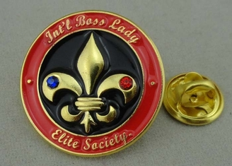 China Swarovski Soft Enamel Pin , 3D Zinc Alloy Rhinestone Pin Badge supplier