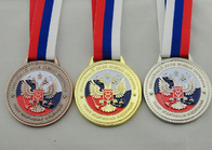 China Die Casting 3D Boxing Ribbon Medals with High 3d And High Polishing for Company Promotional Gift factory
