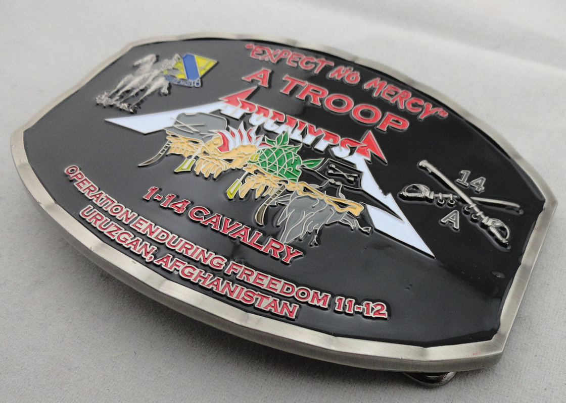 Zinc Alloy / Pewter Troop Belt Custom Made Buckles Antique Nickel Plating with soft Enamel