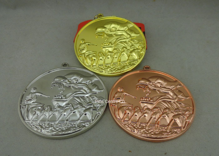 Zinc Alloy Customized Ribbon Medals , 3D Sports Running