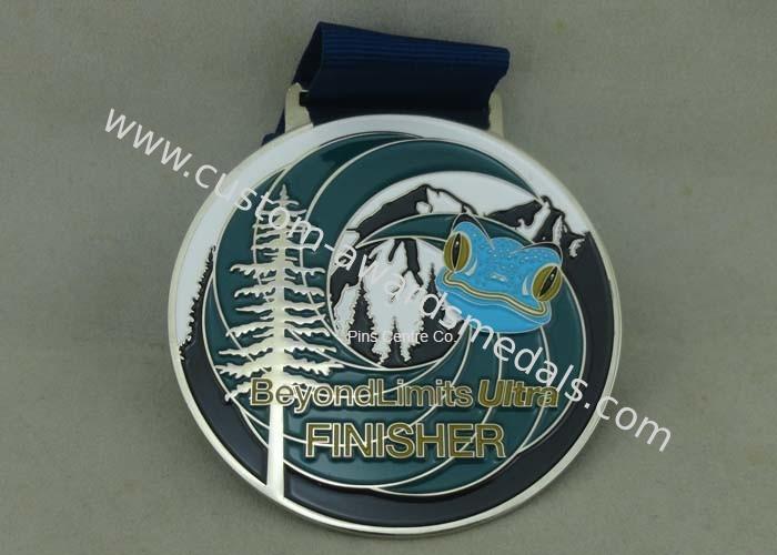 Customized Big Round Antique Enamel Medals , Brass Die
