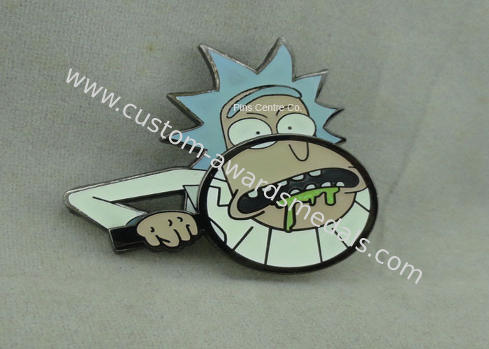 Aluminum / Zinc Alloy Synthetic Hard Enamel Pin with silver Plating