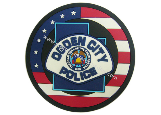 China Ogden City Police Promotion 2D Custom Plastic Coasters Silicon distributor