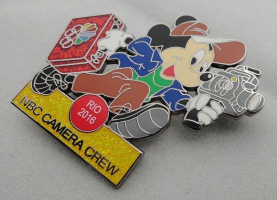 China NBC Camera Crew Disney Pin Badge by Zinc Alloy, Synthetic Enamel, Black Nickel, Glitter Filled distributor