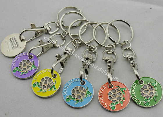 China Die stamping, Die Cast, Die Struck Metal Tortoise Shopping Trolley Coin Key Chain distributor